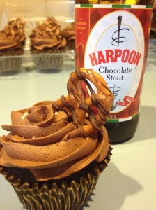 Chocolate Stout and Pretzel Cupcakes