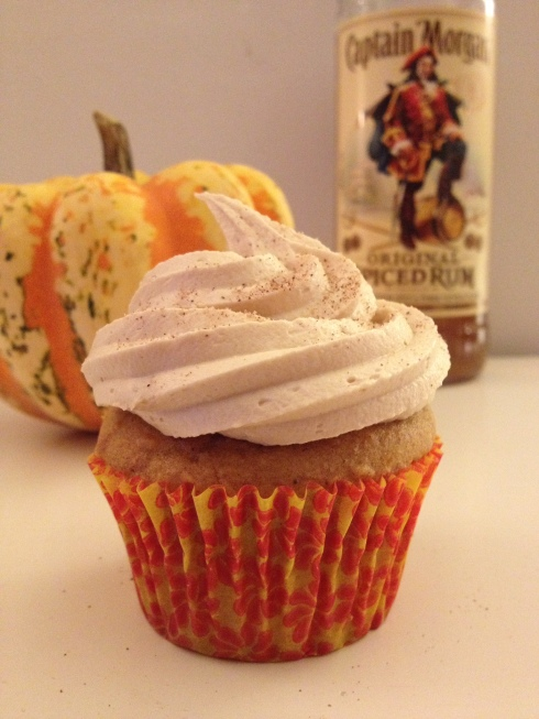 Pumpkin Spiced Rum Cupcakes with Biscoff Marshmallow Frosting